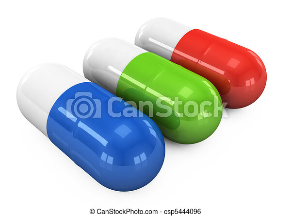 3d pills on a white background - csp5444096