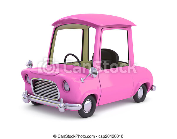 3d Pink cartoon car - csp20420018