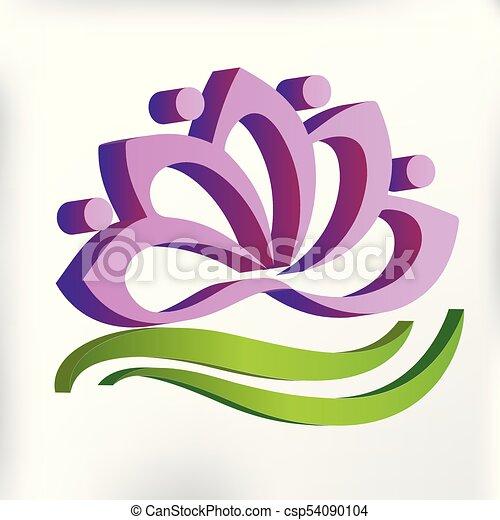 3D pink yoga lotus flower logo - csp54090104