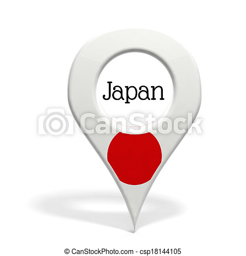 3D pinpoint with flag of Japan isolated on white - csp18144105