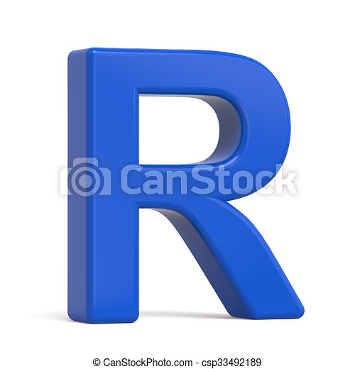 3d plastic blue letter r isolated on white background stock 3d plastic blue letter r csp33492189 thecheapjerseys Images