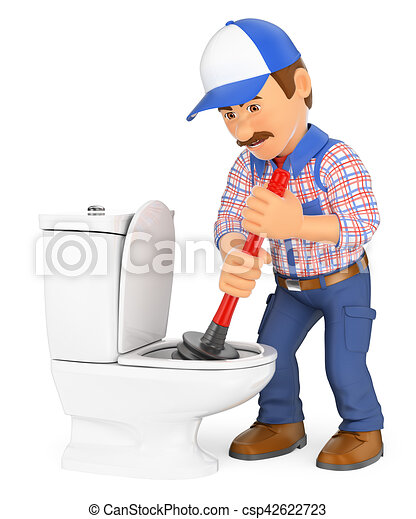 3D Plumber unclogging a toilet with a plunger - csp42622723