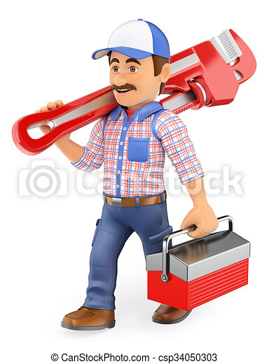 3D Plumber walking with a pipe wrench and toolbox - csp34050303