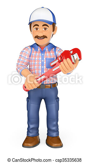 3D Plumber with a pipe wrench - csp35335638