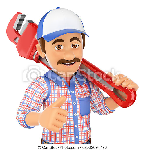 3D Plumber with a pipe wrench - csp32694776