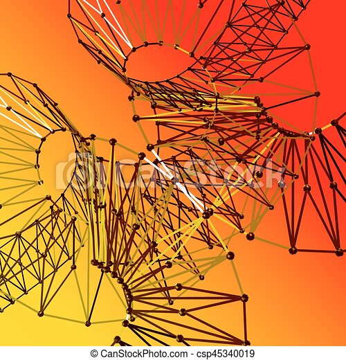 3d polygonal spiral. Helical background. - csp45340019
