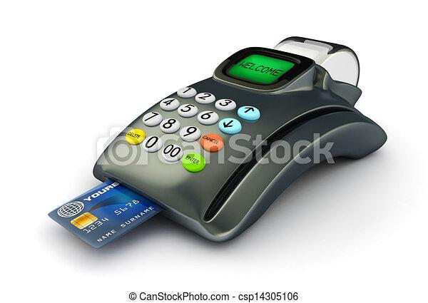 3D POS-terminal with Credit Card - csp14305106