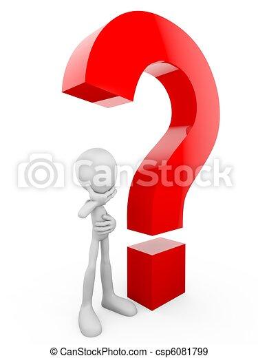 Humano 3D con un signo de interrogación rojo - csp6081799