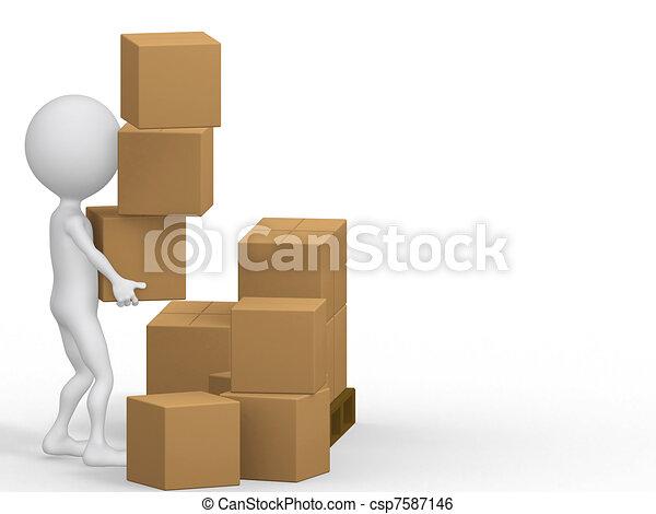 3D personas llevando cajas de cartón. - csp7587146