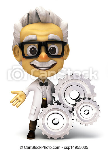 3d Professor with a gear - csp14955085