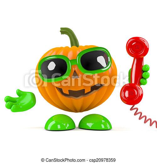3d Pumpkin man answers the phone - csp20978359