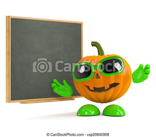 3d Pumpkin man at the blackboard - csp20840908