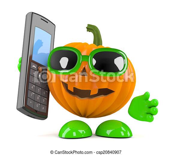 3d Pumpkin man has a mobile phone - csp20840907