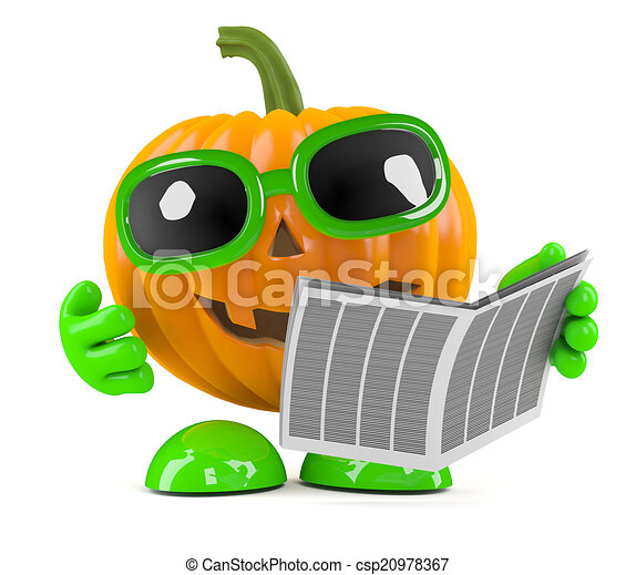 3d Pumpkin man reads the newspaper - csp20978367