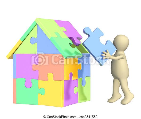 3d Puppet, Building The House   Csp3841582