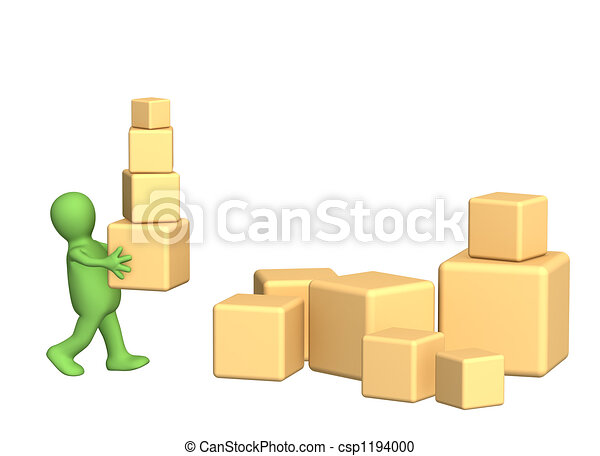 3d puppet, carrying boxes - csp1194000