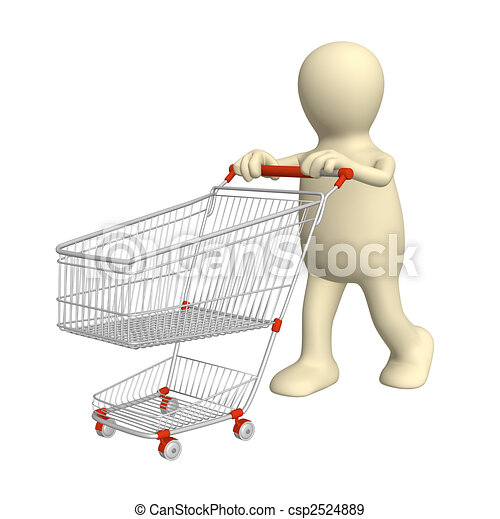 3d puppet, going for purchases - csp2524889