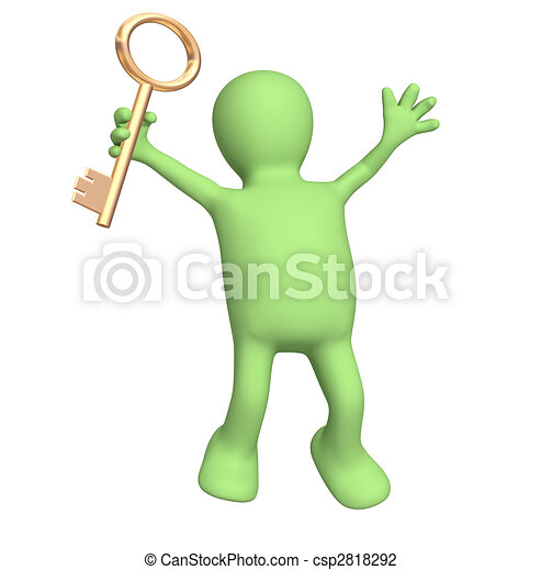 3d puppet, holding in hand a gold key - csp2818292