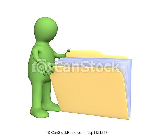 3d puppet opening folder - csp1121257