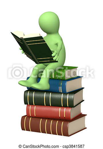 3d puppet, reading the book - csp3841587