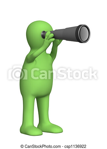 3d puppet with a telescope - csp1136922