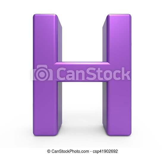 3d purple letter h 3d rendering purple letter h isolated white