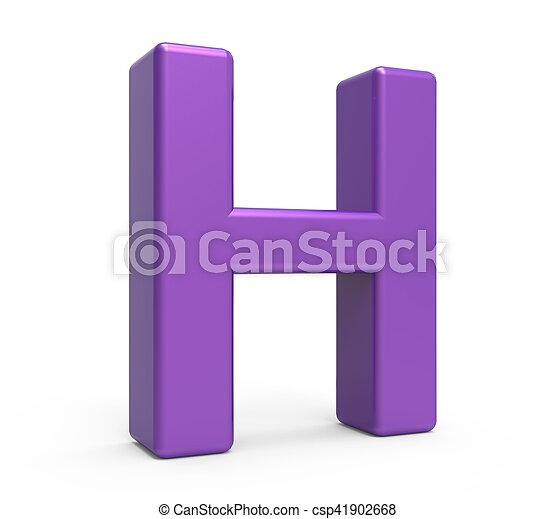 3d purple letter h Left leaning 3d rendering purple letter stock