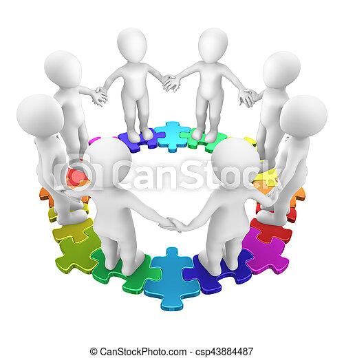 3D-Leute im farbigen Kreis-Puzzle - csp43884487
