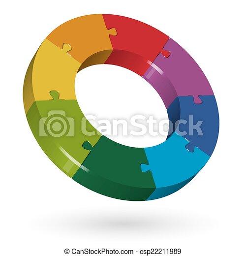 3D puzzle circle - 8 parts - csp22211989