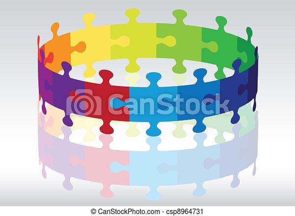 3d puzzle circle, vector - csp8964731