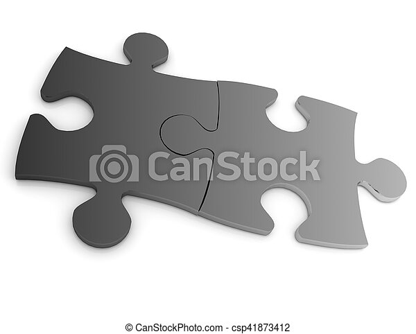 3d puzzle concept isolated on white background - csp41873412