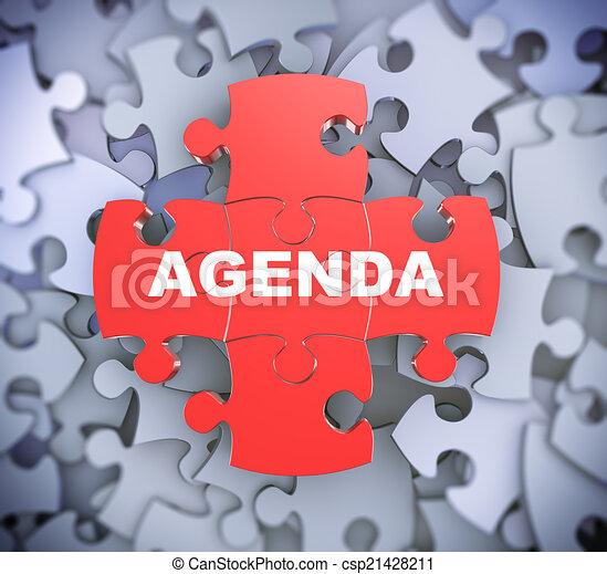3d puzzle pieces - agenda - csp21428211