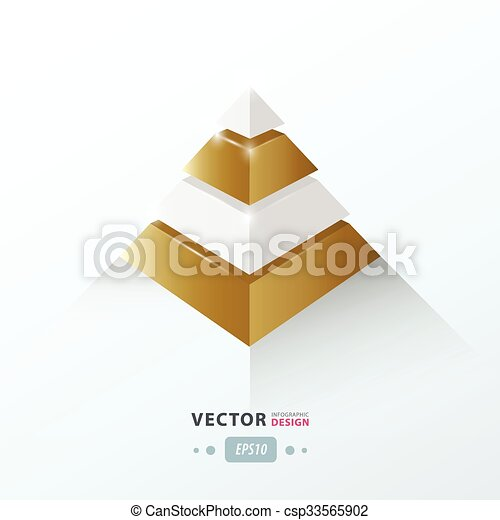 3D pyramid business Infographic Golden - csp33565902