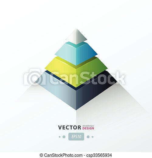 3D pyramid business Infographic green blue gray color - csp33565934