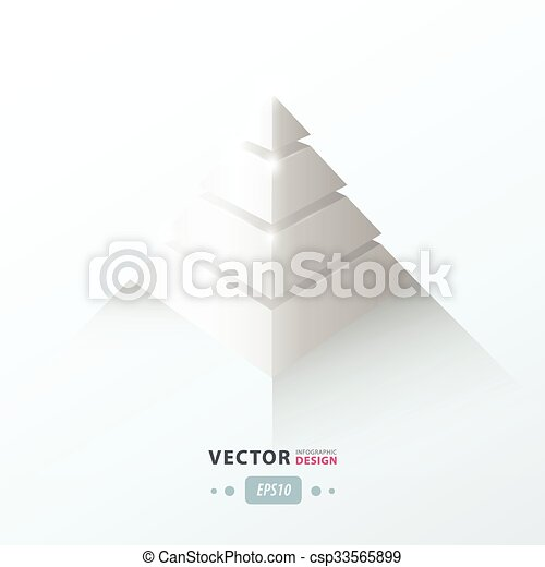 3D pyramid business Infographic White Color - csp33565899