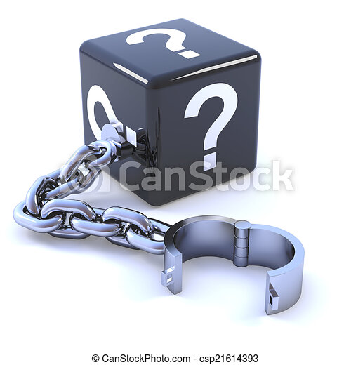 3d Question mark dice on a shackle - csp21614393