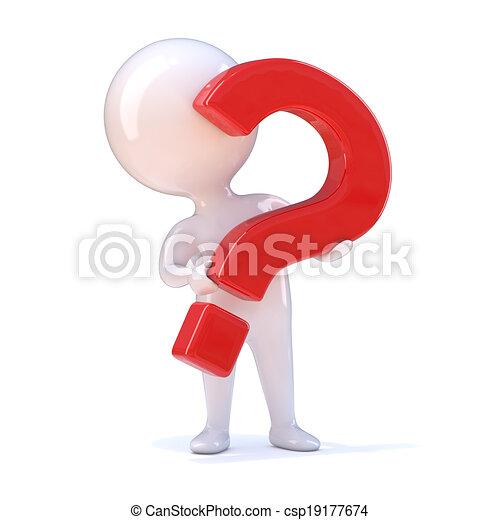 3d Question mark man - csp19177674