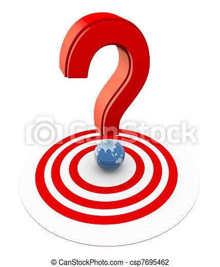 3d question mark on target 3d question mark with globe on clip rh canstockphoto com question mark graphic for powerpoint graphic organizers question mark