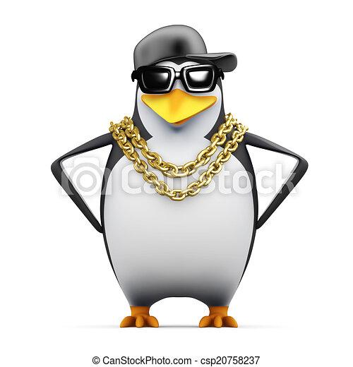 3d Rapper penguin hands on hips - csp20758237