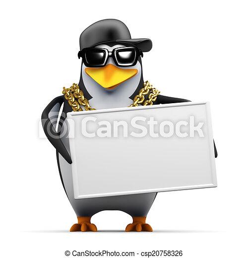 3d Rapper penguin holds a banner - csp20758326
