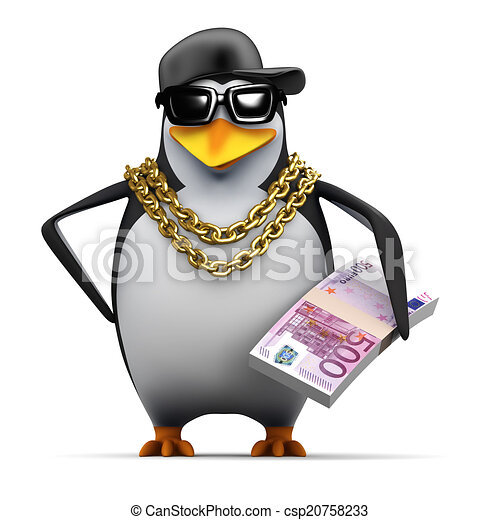 3d Rapper penguin holds Euro notes - csp20758233