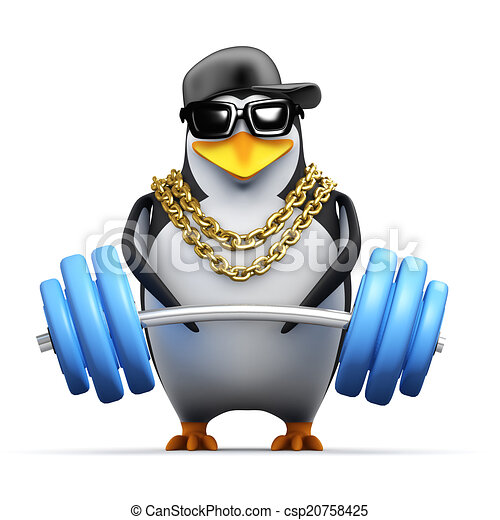 3d Rapper penguin lifts weights - csp20758425