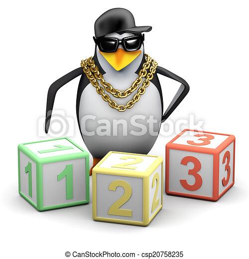 3d Rapper penguin teaches maths - csp20758235