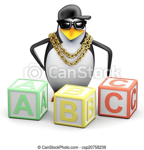 3d Rapper penguin teaches the alphabet - csp20758239