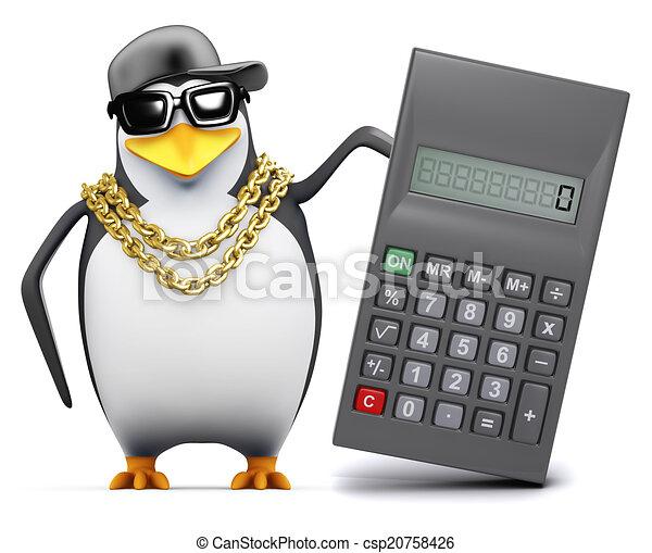 3d Rapper penguin uses a calculator - csp20758426