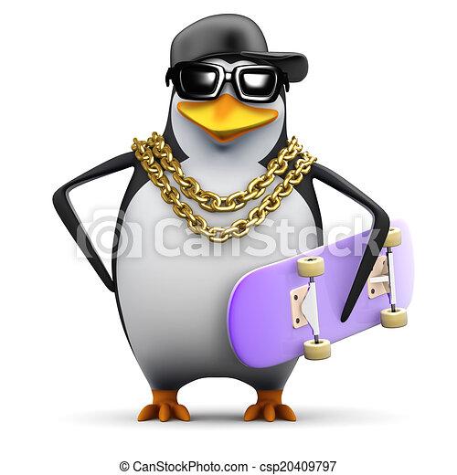 3d Rapper penguin with skateboard - csp20409797