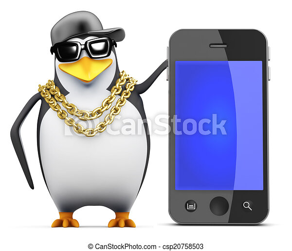 3d Rapper penguin with smartphone - csp20758503