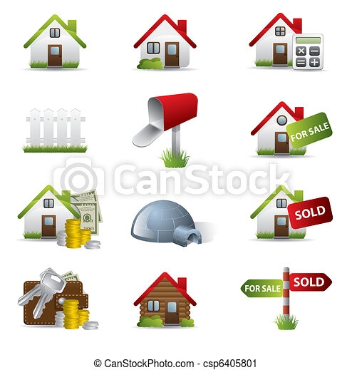 3D Real Estate Business Icon Set - csp6405801