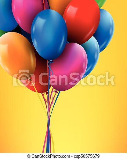 3d Realistic Colorful Bunch Of Birthday Balloons Flying For Party And Celebrations