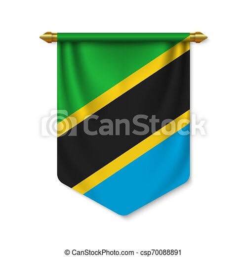 3d realistic pennant with flag - csp70088891
